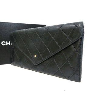 Authentic CHANEL Bicolore CC mark purse Leather